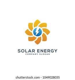 abstract sun solar enegy logo template vector illustration