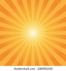 Abstract sunbeams orange rays background - Vector illustration