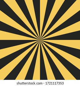 Abstract sunburst pattern background.  Yellow and black starburst ray. Graphic resource vector illustration