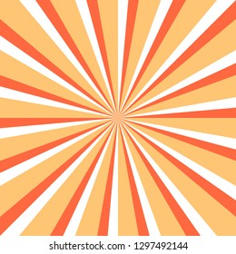 Abstract sunburst or sunbeams empty background in yellow, white and red colors. Blank retro vintage backdrop designed in square size. The design graphic element is saved as a vector illustration.