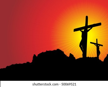 abstract sunset background with jesus in cross on mountain