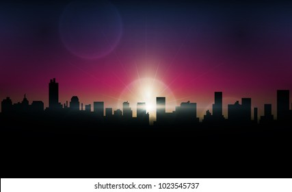 Abstract with sunset twilight in imagination building and city. vector illustration