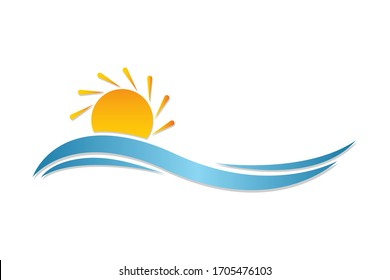 abstract sunset wave vector illustration