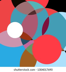 Abstract super colorful background with circles superimposed on each other. Design for web site or poster.