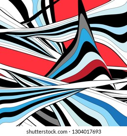 Abstract super multicolored wavy background with different lines and curves