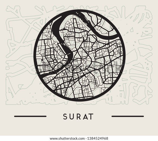 Abstract Surat City India Map Illustration Stock Vector Royalty