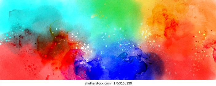 Abstract surface of Multicolored splatter watercolor. Artistic hand-painted vector, element for banner, poster, card, cover, brochure.