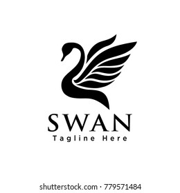 Abstract swan flying wings logo