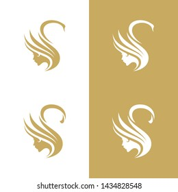 Abstract swan and women face Beauty logo