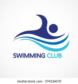 Abstract Swimming Logo Design through waves concept design