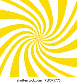 Abstract swirl background from yellow and white twisted spiral ray stripes - vector design