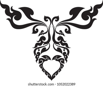 Abstract swirl Butterfly And Heart Traditional Thai Art Style, Designed Concept For Artwork Tattoo Frame Fabric Pattern Texture Wallpaper Paperart Background Backdrop Logo Symbol Woodwork Vector File
