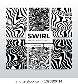 Abstract swirl liquify line pattern collection. background template for design identity, card, poster, brochure, flyer, web, print, social media.