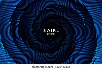 Abstract swirl trail or tunnel. Rotating sparkling background. Vector effect of acceleration, speed, motion and depth