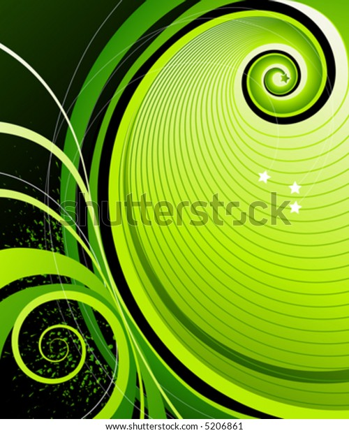 Abstract swirls and stars. Vector illustration.