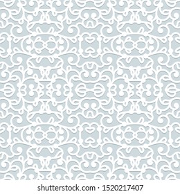 Abstract swirly seamless pattern, vector lace texture, elegant ornament in neutral grey colors