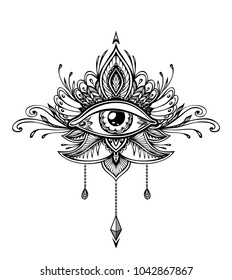 Abstract Symbol Of All Seeing Eye In Boho Indian Asian Ethno Style For Tattoo Black