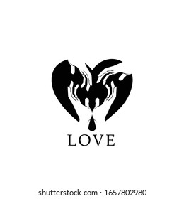 Abstract symbol design of love and human care with hands and heart icon.