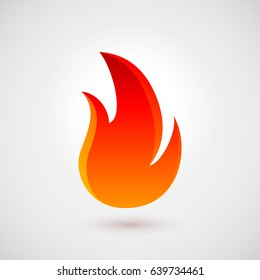 Abstract Symbol of Fire Flames. Icon Illustration for Design Over Gray Background