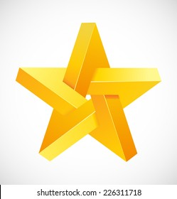 Abstract symbol, impossible object, star, vector.
