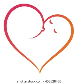 Abstract symbol of mother breastfeeding baby, woman feeding newborn baby with breast milk. Heart shaped vector icon. Breastfeeding coalition emblem, breastfeeding week logo, lactation consultant logo