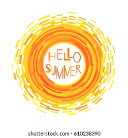 Abstract symbol of the sun. Vector illustration for magazine, poster, book cover, banner, flyer, booklet. Rays in the form of stripes. Hello summer.
