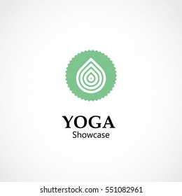 abstract symbol vector illustration of yoga and meditation logo emblem. health care and relaxation concept