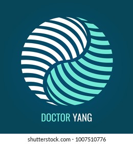 Abstract symbol Yin Yang on blue background. Vector logo for medical Company or yoga center. symbol of harmony and balance.