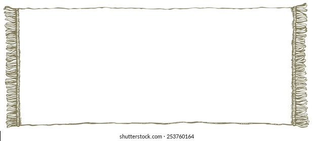 Abstract symbolic country cadre: old-fashioned white clean rural towel with purl around edge. Vector freehand ink drawn backdrop sketch in scribble antiquity style of pen on paper with space for text