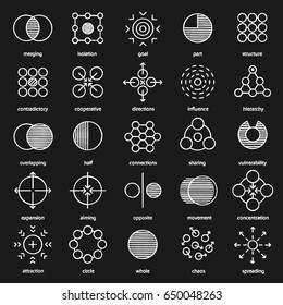 Abstract symbols chalk icons set. Logo ideas for business, science, IT industries. Merging, vulnerability, aiming, whole, movement concepts. Isolated vector chalkboard illustrations