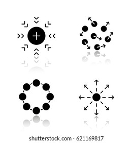 Abstract symbols drop shadow black icons set. Attraction, chaos, circle, spreading concepts. Isolated vector illustrations