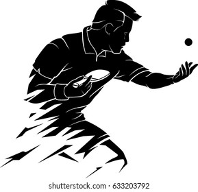 Abstract Table Tennis Player Serve