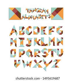 Abstract Tangram alphabet or Font isolated on white background vector illustration.