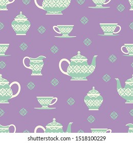 Abstract Tea Vector Set Purple Background Color Seamless Pattern