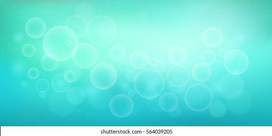 Abstract teal background with water bubbles. Soft turquoise water backdrop. Vector illustration for your graphic design, banner, aqua poster