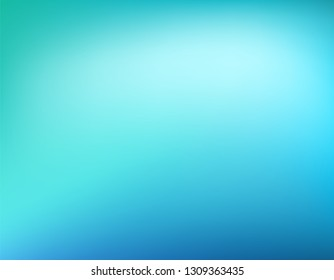 Abstract teal and blue background. Blurred gradient green turquoise backdrop. Vector illustration for your graphic design, banner, water or aqua poster