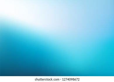 Abstract teal blue white background. Blurred gradient navy  turquoise to light backdrop. Vector illustration for your graphic design, banner, water or aqua poster
