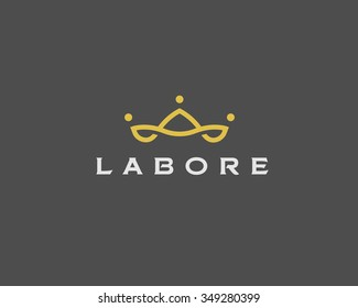 Abstract team company logo icon vector design. Elegant crown premium symbol. Unique partners logotype sign mark