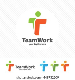 Abstract team work letter T logo design vector.Letter T community symbol icon.