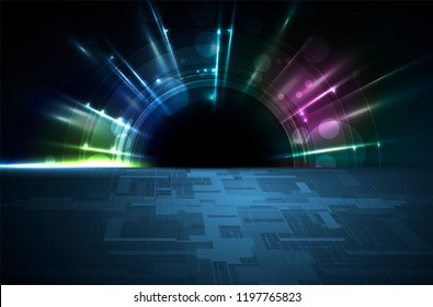 Abstract tech background. Futuristic technology interface with geometric shapes