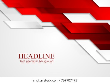 Abstract tech corporate red and grey contrast background. Vector geometric illustration for flyers, brochures, web graphic design