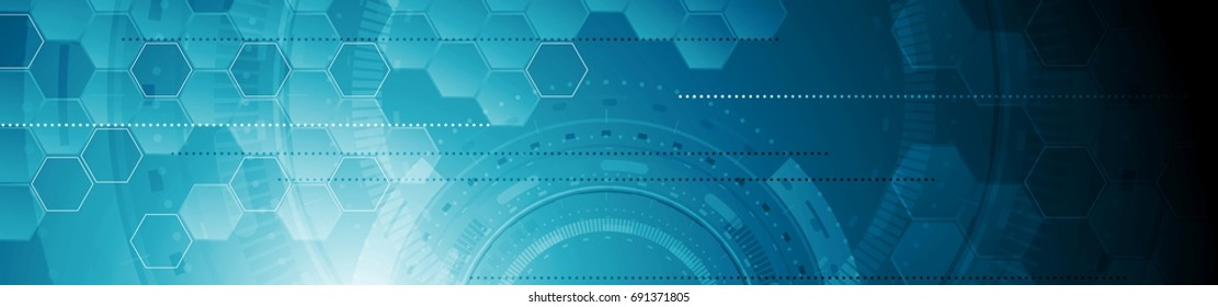 Abstract tech industrial web header banner. Vector geometric background template with gears and hexagons. Futuristic illustration