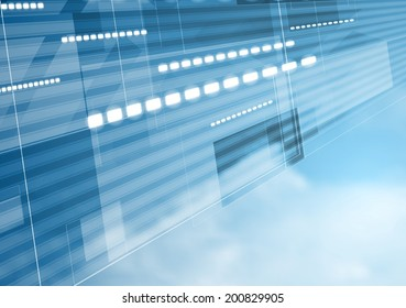 Abstract tech motion design with cloudy sky
