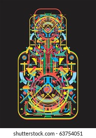 abstract tech shapes in a form of bottle,vector illustration