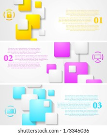 Abstract tech vector bright banners