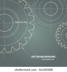 Abstract technical drawing. Vectors gears