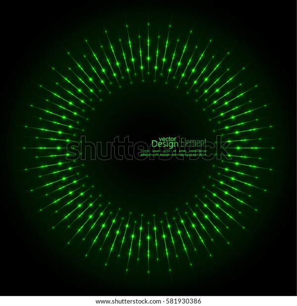Abstract techno background with rays with glowing particles. Lights vector frame.