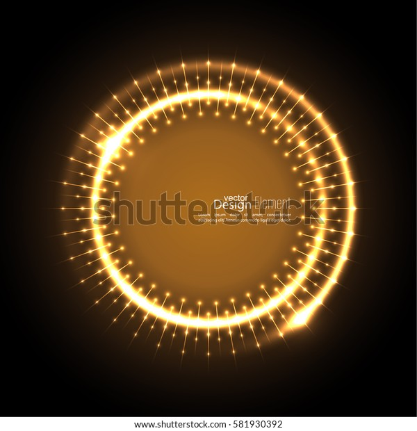 Abstract techno background with spirals and rays with glowing particles. Lights vector frame.