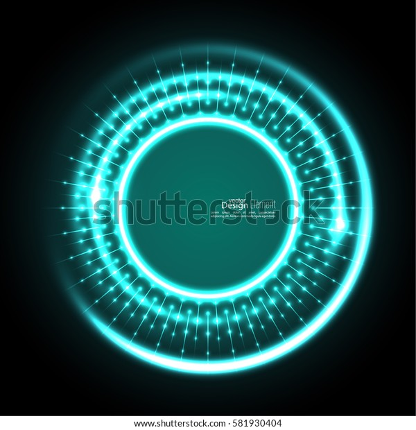 Abstract techno background with spirals and rays with glowing particles.