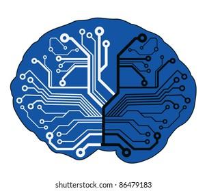 abstract techno brain